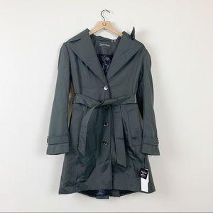 NWT Calvin Klein Black Water Resistant Trench Coat